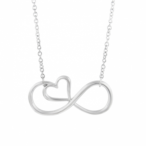 Rhodium Plated Infinity Heart Necklace by Daphne Diamond